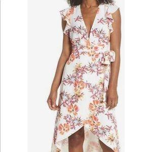 White floral summer wrap dress